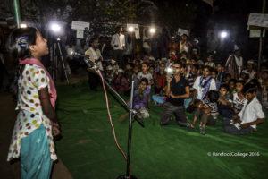 Pooja speaks in front of her bridge school
