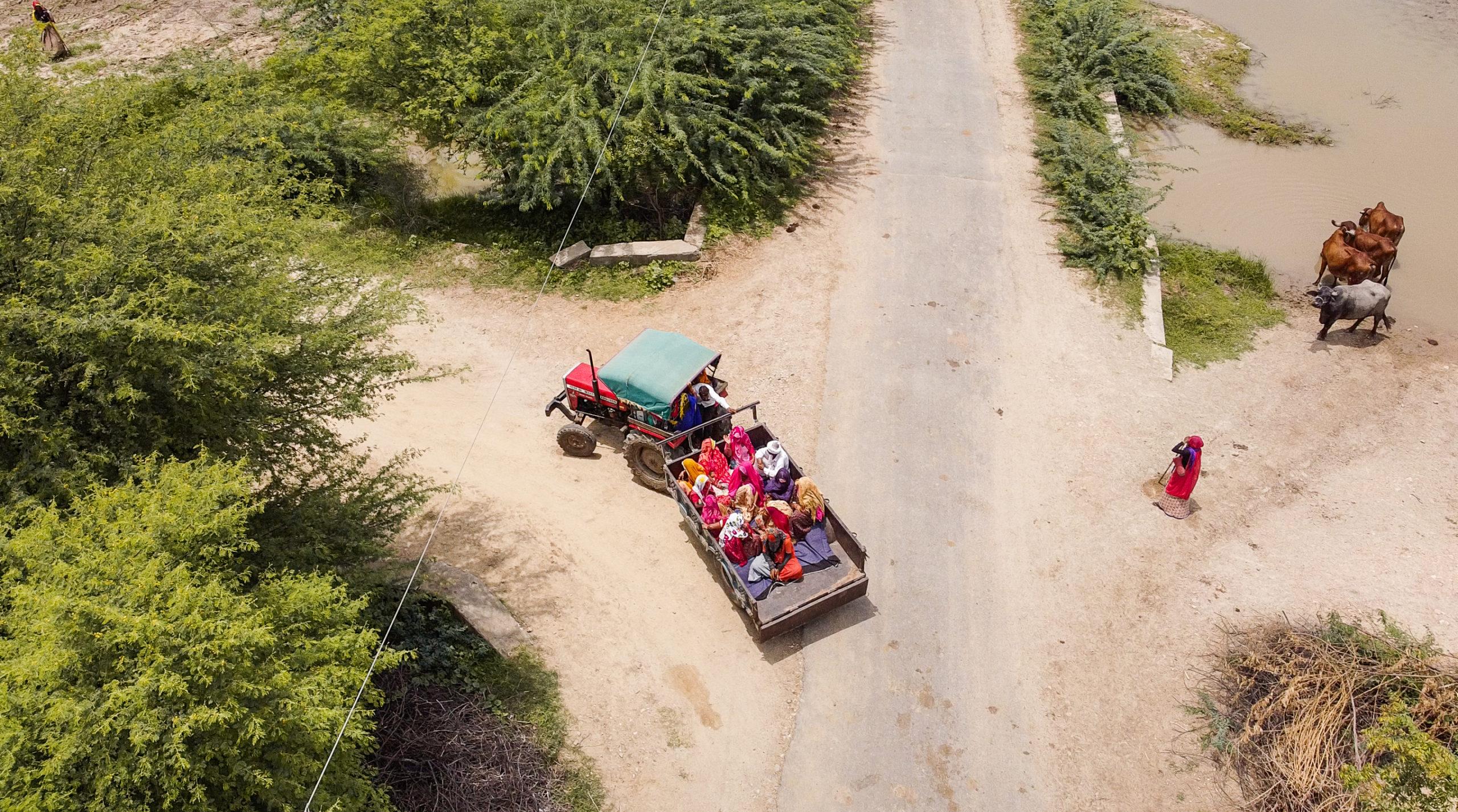 Women in Gehlota village being taken to a vaccine site.